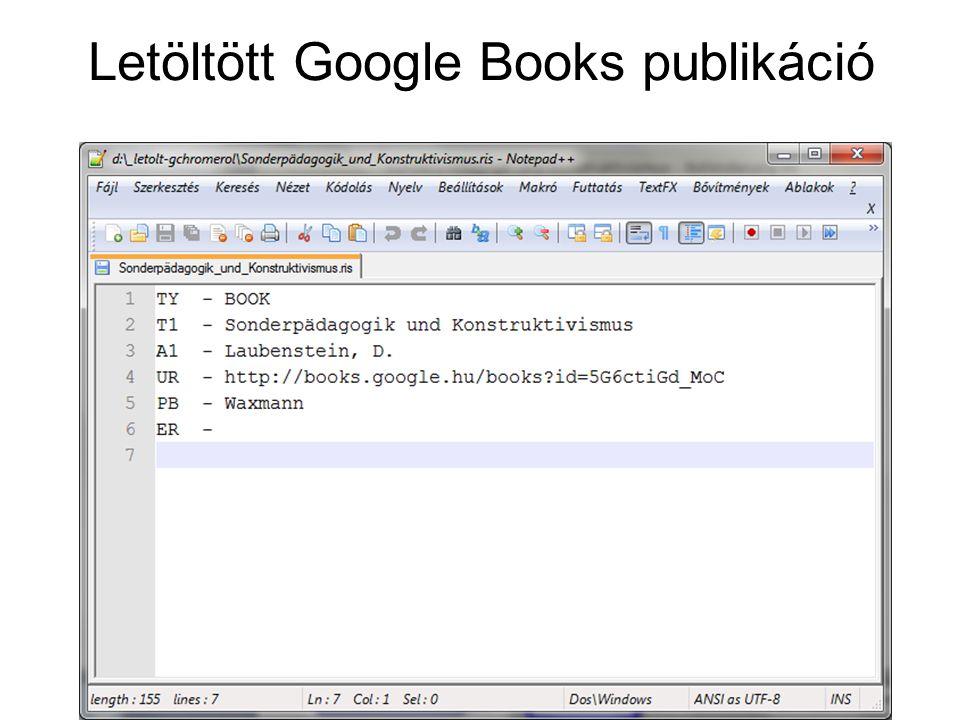 Letöltött Google Books publikáció