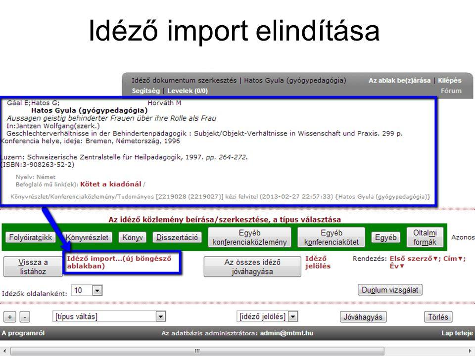 Idéző import elindítása