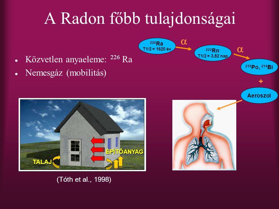 A Radon főbb tulajdonságai Közvetlen anyaeleme: 226 Ra Nemesgáz (mobilitás) 226 Ra T1/2 = 1620 év 222 Rn T1/2 = 3,82 nap   218 Po, 214 Bi + Aeroszol TALAJ ÉPÍTŐANYAG (Tóth et al., 1998)
