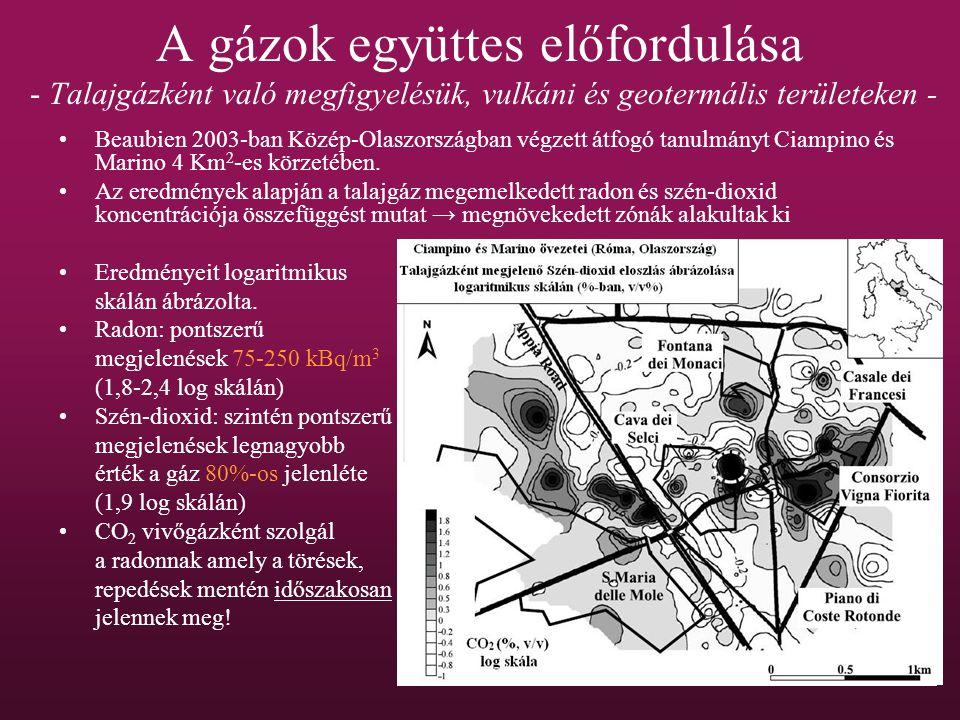 A gázok együttes előfordulása - Talajgázként való megfigyelésük, vulkáni és geotermális területeken - Beaubien 2003-ban Közép-Olaszországban végzett átfogó tanulmányt Ciampino és Marino 4 Km 2 -es körzetében.
