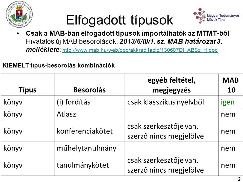 2 Csak a MAB-ban elfogadott típusok importálhatók az MTMT-ből - Hivatalos új MAB besorolások: 2013/6/III/1. sz. MAB határozat 3. melléklete: http://ww