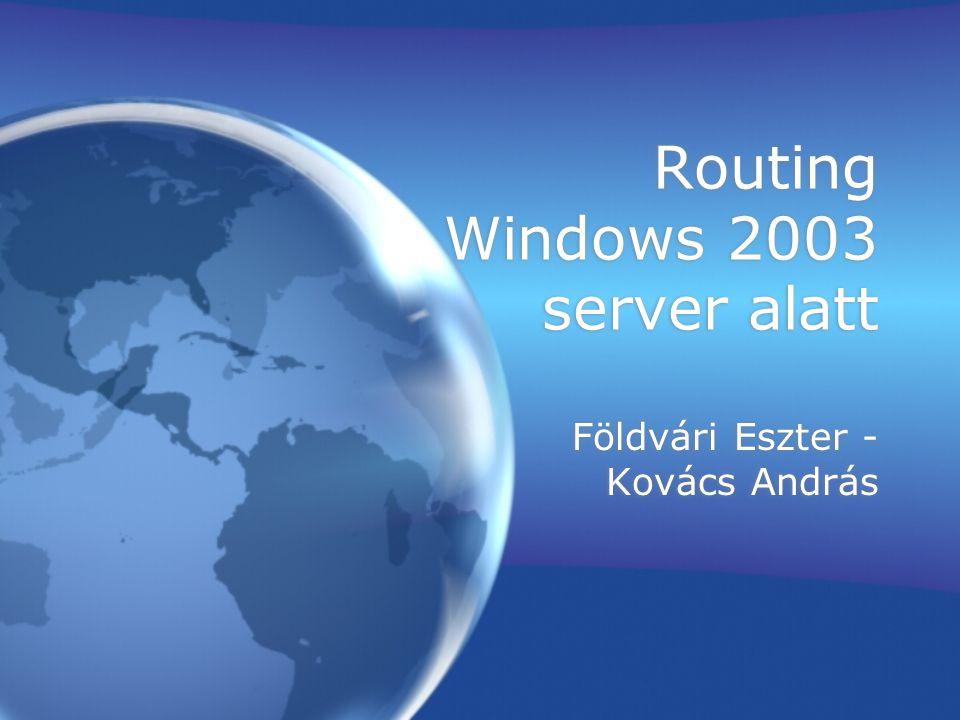 Routing Windows 2003 server alatt Földvári Eszter - Kovács András