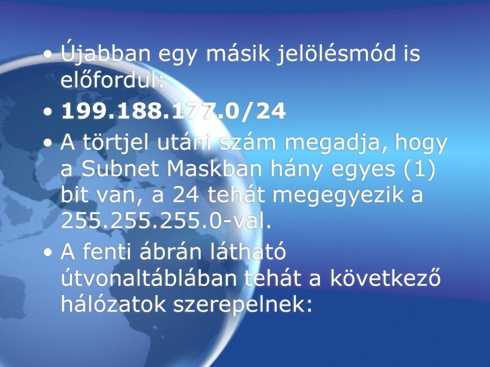Újabban egy másik jelölésmód is előfordul: 199.188.177.0/24 A törtjel utáni szám megadja, hogy a Subnet Maskban hány egyes (1) bit van, a 24 tehát megegyezik a 255.255.255.0-val.