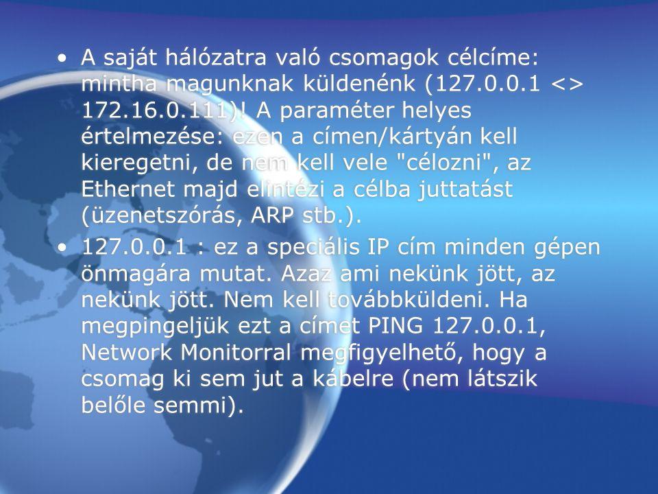 A saját hálózatra való csomagok célcíme: mintha magunknak küldenénk (127.0.0.1 <> 172.16.0.111)! A paraméter helyes értelmezése: ezen a címen/kártyán