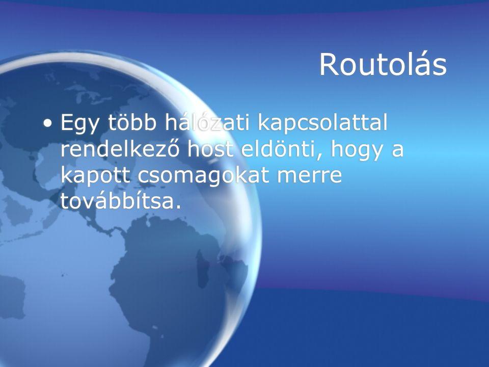 Routolás Egy több hálózati kapcsolattal rendelkező host eldönti, hogy a kapott csomagokat merre továbbítsa.
