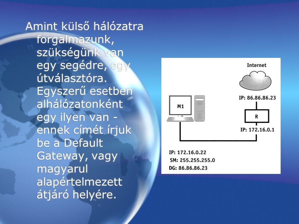 Ha egy számítógépen a beírt Default Gateway nem a saját routerünk innenső IP címe, hanem például az Elte egyik gépét adjuk meg, akkor a gép nem lesz képes külső kapcsolatot építeni.