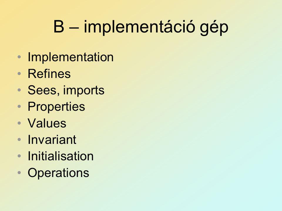 B – implementáció gép Implementation Refines Sees, imports Properties Values Invariant Initialisation Operations