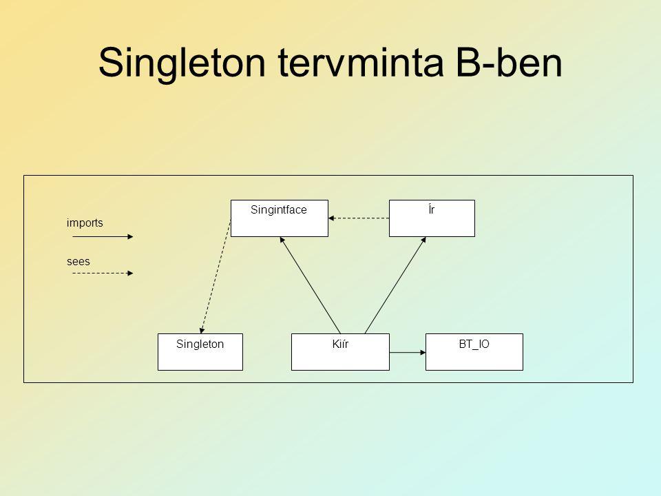 Singleton tervminta B-ben imports sees Singleton SingintfaceÍr KiírBT_IO