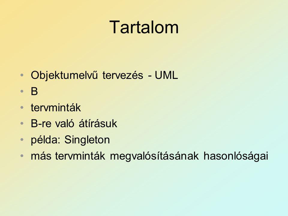 Tartalom Objektumelvű tervezés - UML B tervminták B-re való átírásuk példa: Singleton más tervminták megvalósításának hasonlóságai