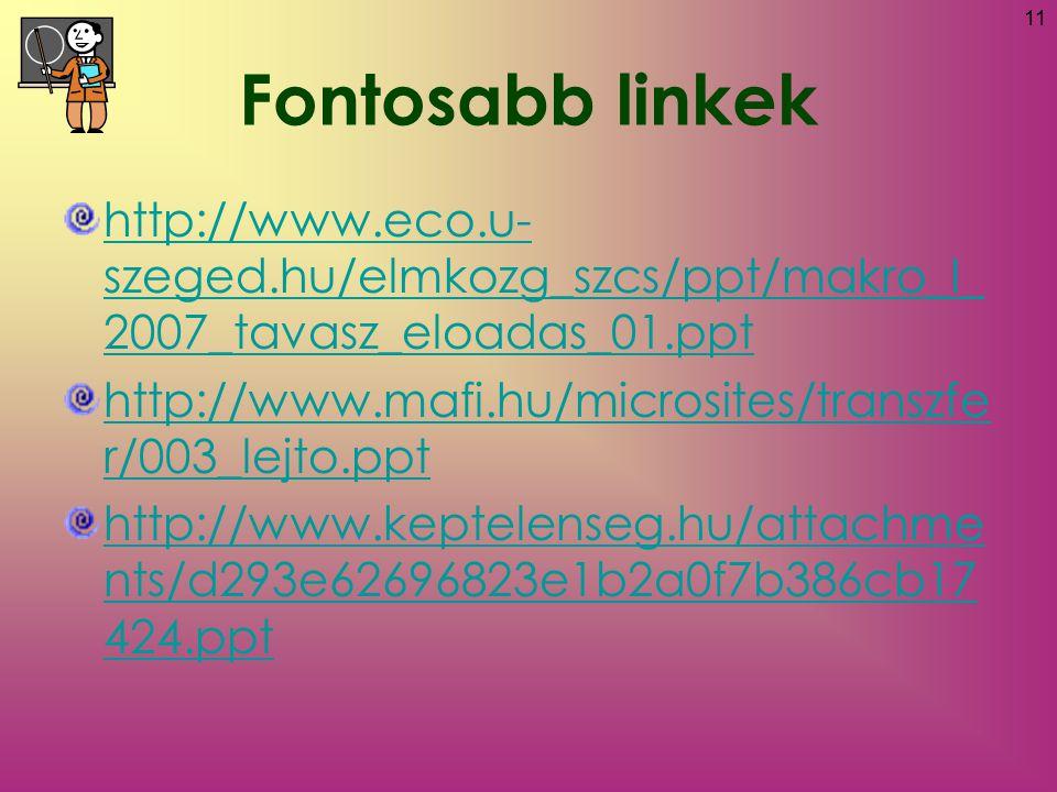 11 http://www.eco.u- szeged.hu/elmkozg_szcs/ppt/makro_I_ 2007_tavasz_eloadas_01.ppt http://www.mafi.hu/microsites/transzfe r/003_lejto.ppt http://www.keptelenseg.hu/attachme nts/d293e62696823e1b2a0f7b386cb17 424.ppt Fontosabb linkek