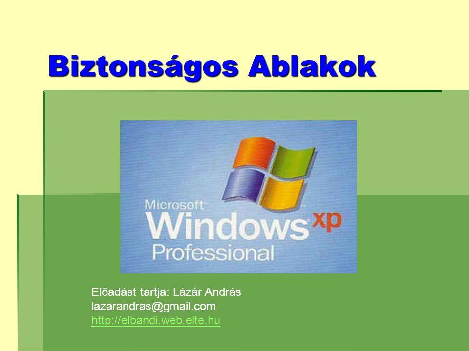 Biztonságos Ablakok Előadást tartja: Lázár András lazarandras@gmail.com http://elbandi.web.elte.hu