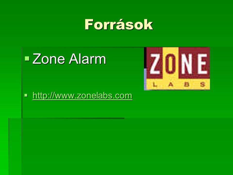 Források  Zone Alarm  http://www.zonelabs.com http://www.zonelabs.com
