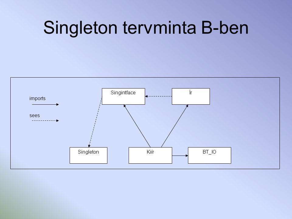 Singleton megvalósítása B-ben MACHINE SINGLETON CONCRETE_VARIABLES exist, singletonData INVARIANT singletonData:NAT & exist:BOOL INITIALISATION singletonData::NAT || exist:=FALSE OPERATIONS singletonOp(adat)= PRE adat:NAT THEN SELECT exist=TRUE THEN singletonData:=adat WHEN exist=FALSE THEN exist:=TRUE || singletonData:=adat END END; data<--getSingletonDat = PRE exist=TRUE THEN data:=singletonData END; bbool<--isExist= bbool:=exist END IMPLEMENTATION SINGLETON_imp REFINES SINGLETON INITIALISATION exist:=FALSE; singletonData::NAT OPERATIONS singletonOp(adat)= BEGIN IF exist=TRUE THEN singletonData:=adat ELSE BEGIN exist:=TRUE; singletonData:=adat END END; data<--getSingletonDat = BEGIN data:=singletonData END; bbool<--isExist = BEGIN bbool:=exist END END MACHINE SINGINTFACE SEES SINGLETON OPERATIONS singletonOperation(adat)= PRE adat:NAT THEN skip END; data<--getSingletonData = data:=0 END IMPLEMENTATION SINGINTFACE_imp REFINES SINGINTFACE IMPORTS SINGLETON OPERATIONS singletonOperation(adat)= BEGIN singletonOp(adat) END; data<--getSingletonData = BEGIN data<--getSingletonDat END MACHINE IR SEES SINGINTFACE OPERATIONS beir = skip END IMPLEMENTATION IR_imp REFINES IR SEES SINGINTFACE OPERATIONS beir= BEGIN singletonOperation(1234) END MACHINE KIIR INCLUDES IR OPERATIONS main = skip END IMPLEMENTATION KIIR_imp REFINES KIIR IMPORTS BT_IO, IR, SINGINTFACE OPERATIONS main = VAR bb, ii IN beir; bb<--isExist; IF bb=TRUE THEN BEGIN writeString( RENDBEN ); ii<--getSingletonData; writeInteger(ii) END ELSE writeString ( HIBA ) END END