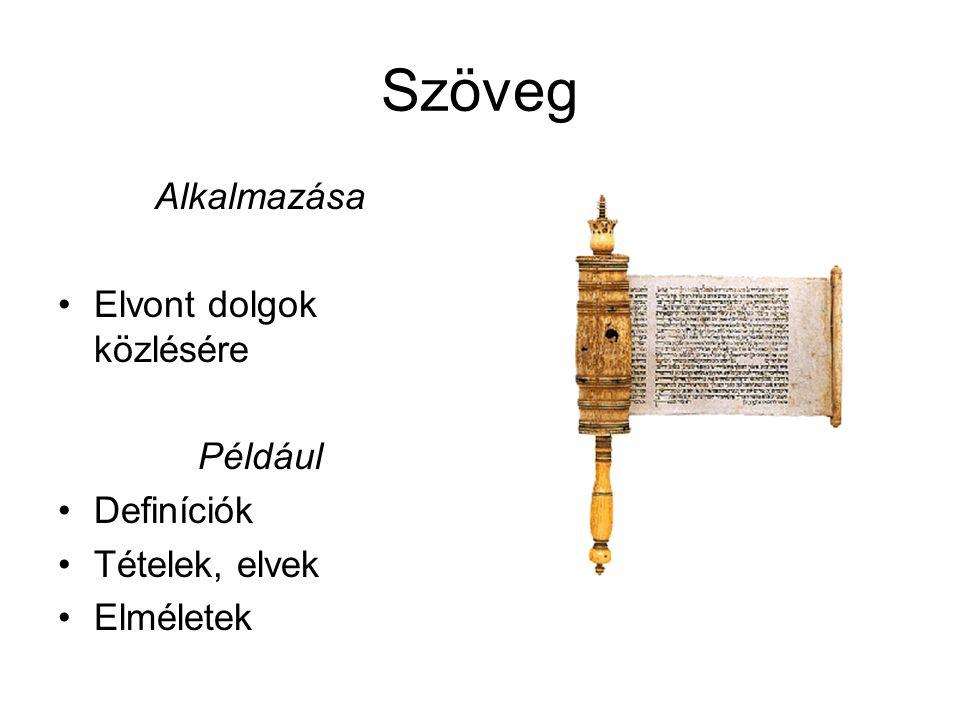 Szöveg Alkalmazása Elvont dolgok közlésére Például Definíciók Tételek, elvek Elméletek