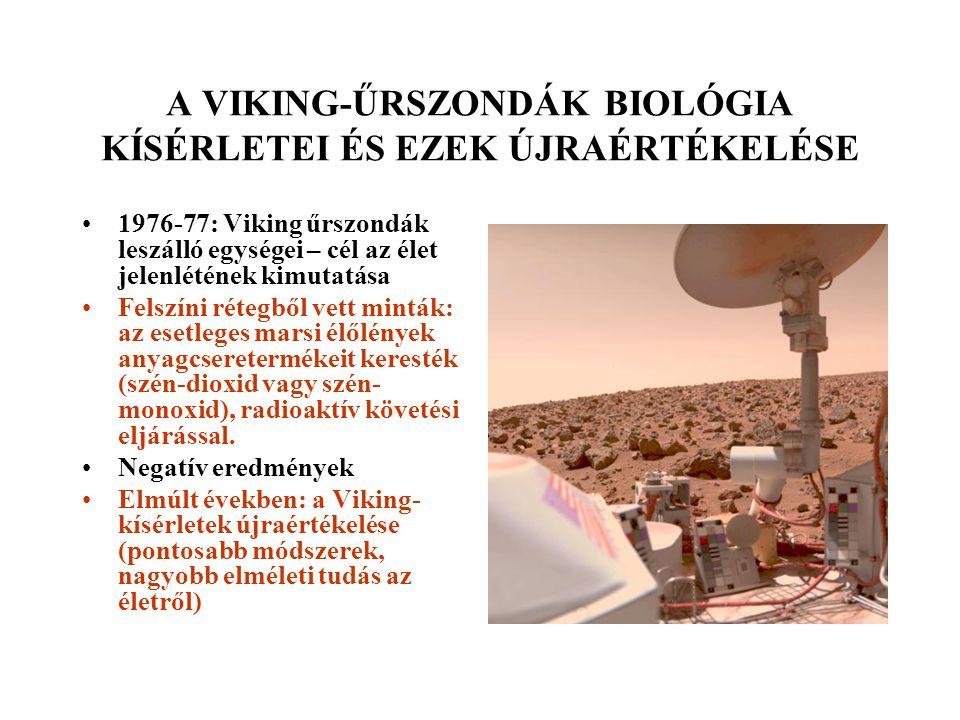 A VIKING-ŰRSZONDÁK BIOLÓGIA KÍSÉRLETEI ÉS EZEK ÚJRAÉRTÉKELÉSE 1976-77: Viking űrszondák leszálló egységei – cél az élet jelenlétének kimutatása Felszíni rétegből vett minták: az esetleges marsi élőlények anyagcseretermékeit keresték (szén-dioxid vagy szén- monoxid), radioaktív követési eljárással.