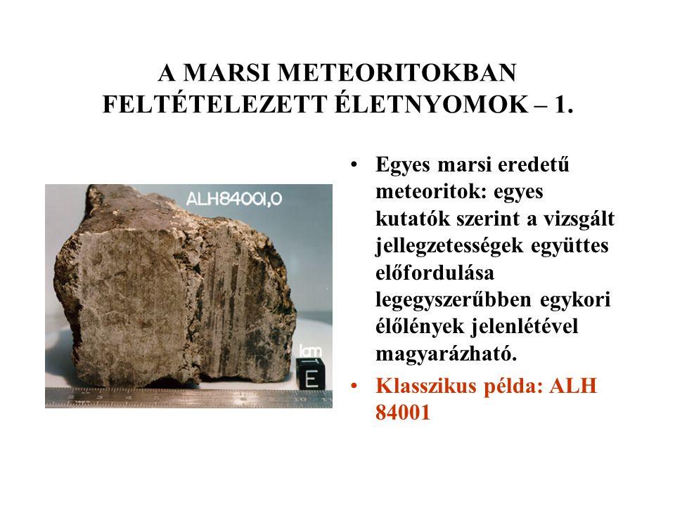 A MARSI METEORITOKBAN FELTÉTELEZETT ÉLETNYOMOK – 1. Egyes marsi eredetű meteoritok: egyes kutatók szerint a vizsgált jellegzetességek együttes előford