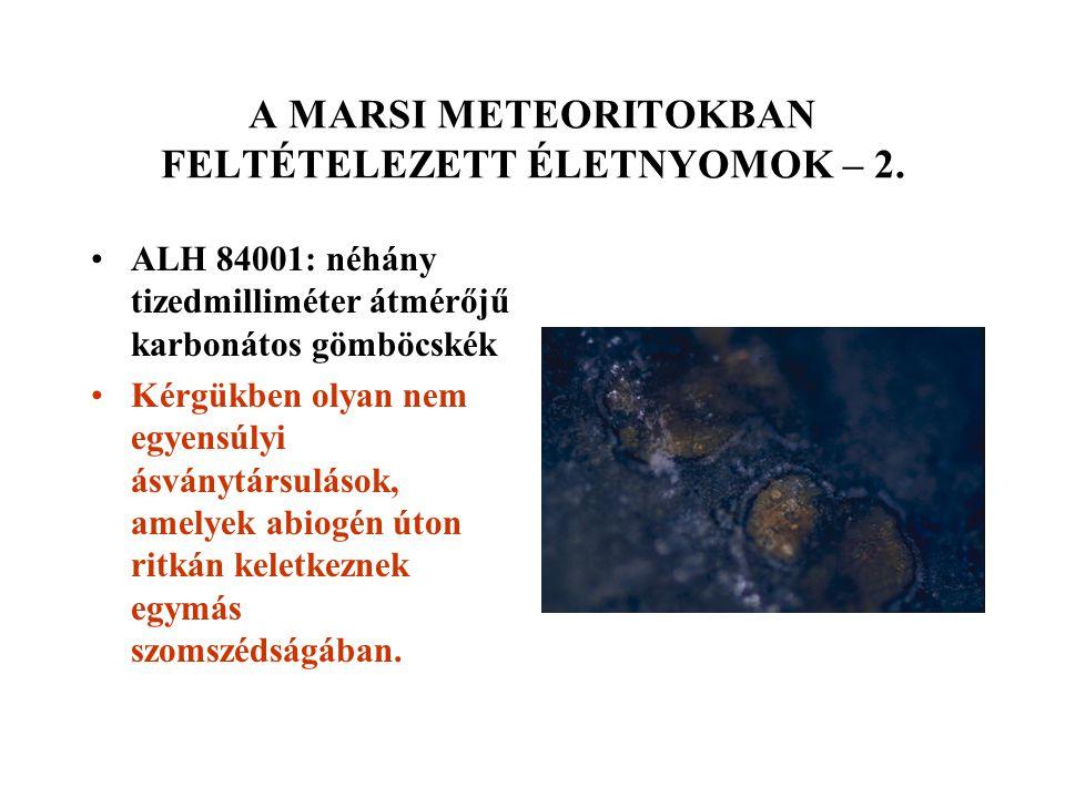 A MARSI METEORITOKBAN FELTÉTELEZETT ÉLETNYOMOK – 2. ALH 84001: néhány tizedmilliméter átmérőjű karbonátos gömböcskék Kérgükben olyan nem egyensúlyi ás
