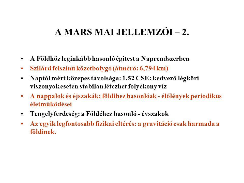 A MAI MARSI ÉLET KUTATÁSÁNAK LEHETŐSÉGEI – 1.