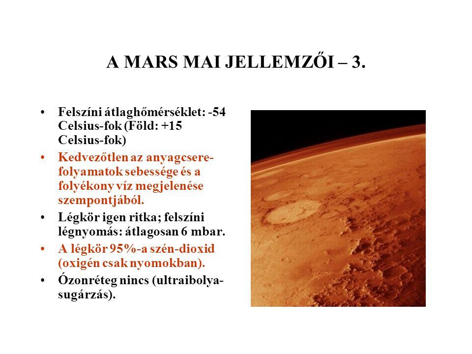 A MARS MAI JELLEMZŐI – 3. Felszíni átlaghőmérséklet: -54 Celsius-fok (Föld: +15 Celsius-fok) Kedvezőtlen az anyagcsere- folyamatok sebessége és a foly