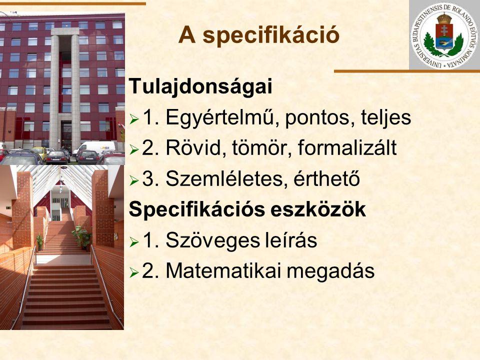 ELTE A specifikáció Tulajdonságai  1. Egyértelmű, pontos, teljes  2. Rövid, tömör, formalizált  3. Szemléletes, érthető Specifikációs eszközök  1.