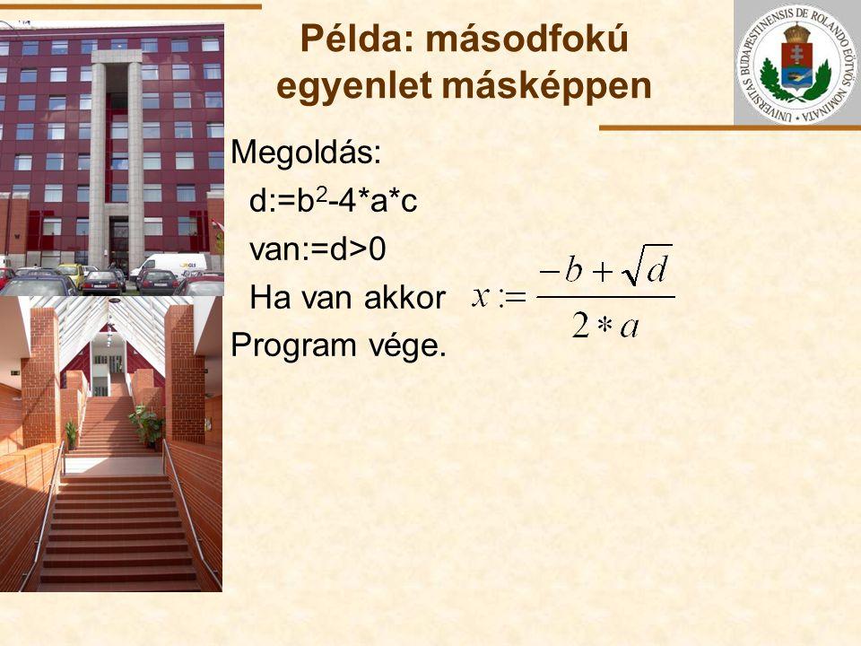 ELTE Példa: másodfokú egyenlet másképpen Megoldás: d:=b 2 -4*a*c van:=d>0 Ha van akkor Program vége.