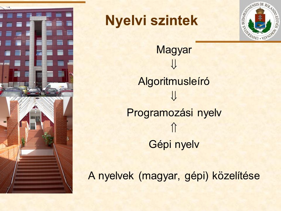ELTE Nyelvi szintek Magyar  Algoritmusleíró  Programozási nyelv  Gépi nyelv A nyelvek (magyar, gépi) közelítése