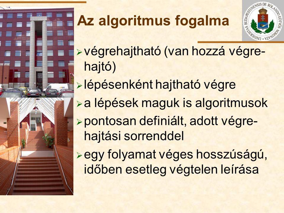 ELTE Az algoritmus fogalma  végrehajtható (van hozzá végre- hajtó)  lépésenként hajtható végre  a lépések maguk is algoritmusok  pontosan definiál