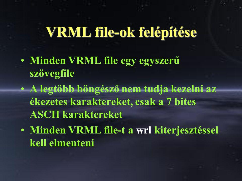 VRML file-ok felépítése Minden VRML file egy egyszerű szövegfile A legtöbb böngésző nem tudja kezelni az ékezetes karaktereket, csak a 7 bites ASCII karaktereket Minden VRML file-t a wrl kiterjesztéssel kell elmenteni
