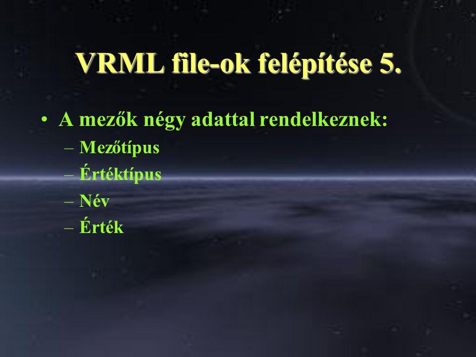 VRML file-ok felépítése 5. A mezők négy adattal rendelkeznek: –Mezőtípus –Értéktípus –Név –Érték