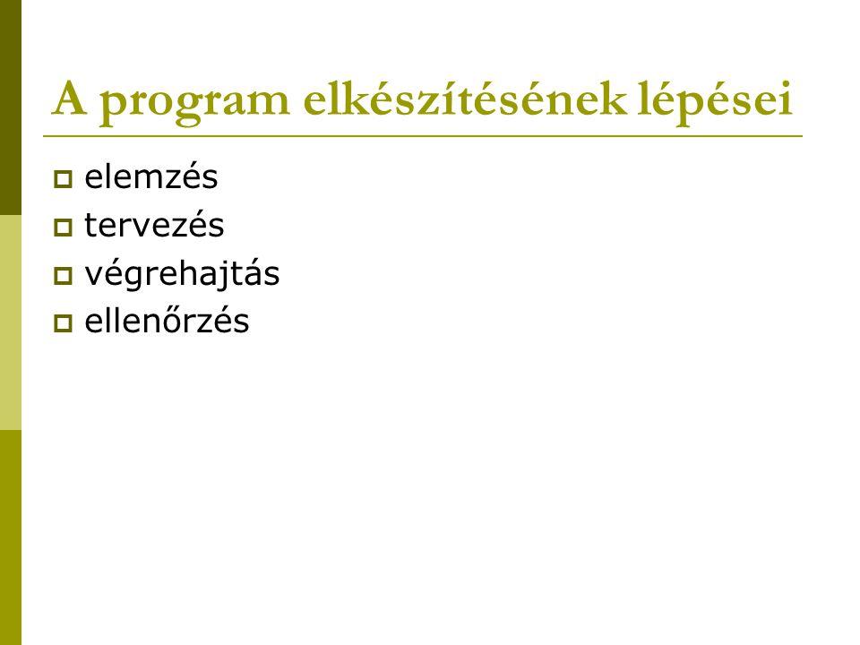 Az algoritmus szerkezete  1.Szekvencia: - a feladat lépéseinek egymás utáni végrehajtása  2.