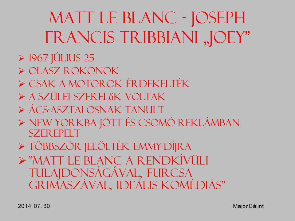 """Matt Le Blanc - Joseph Francis Tribbiani """"Joey """"  1967 július 25  Olasz rokonok  Csak a motorok érdekelték  A szülei szerel ő k voltak  Ács-aszta"""