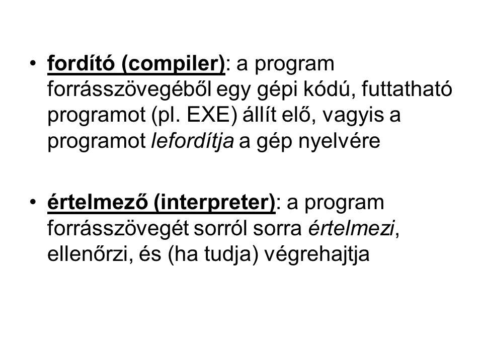 fordító (compiler): a program forrásszövegéből egy gépi kódú, futtatható programot (pl. EXE) állít elő, vagyis a programot lefordítja a gép nyelvére é