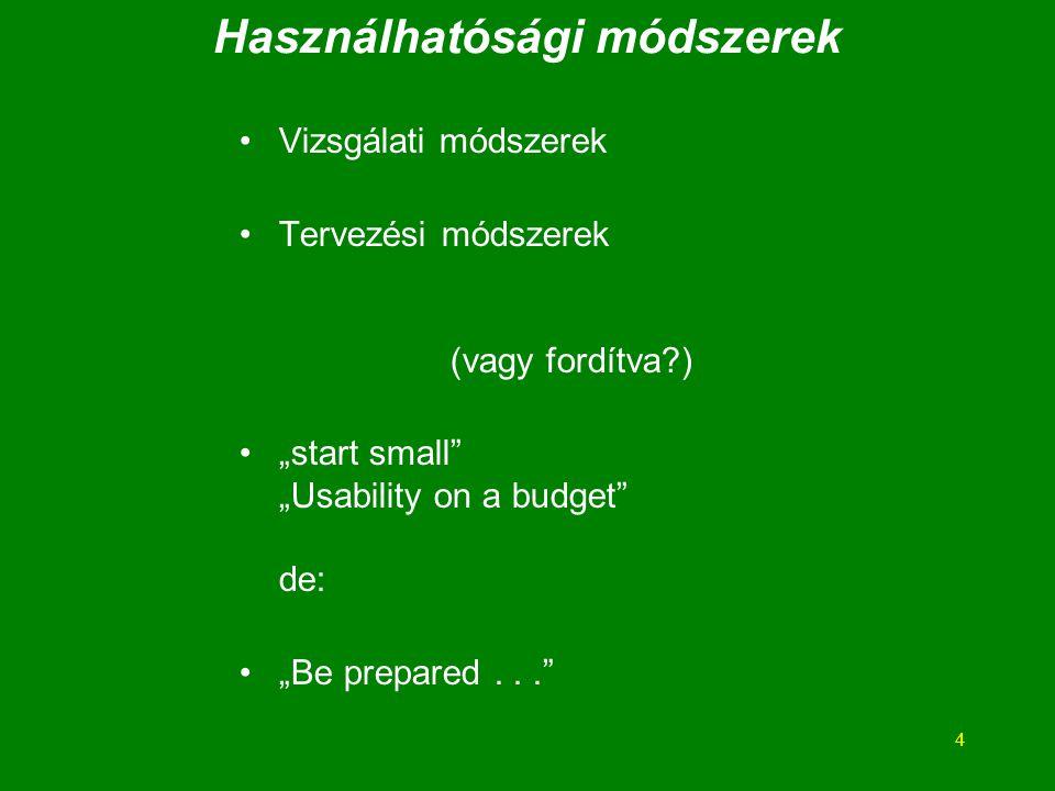 """4 Használhatósági módszerek Vizsgálati módszerek Tervezési módszerek (vagy fordítva ) """"start small """"Usability on a budget de: """"Be prepared..."""