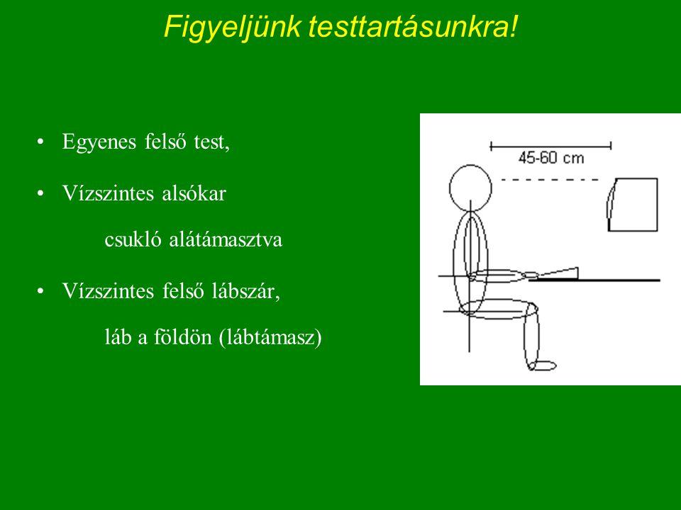 Figyeljünk testtartásunkra! Egyenes felső test, Vízszintes alsókar csukló alátámasztva Vízszintes felső lábszár, láb a földön (lábtámasz)