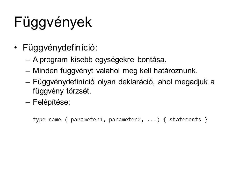 Függvények Függvénydefiníció: –A program kisebb egységekre bontása. –Minden függvényt valahol meg kell határoznunk. –Függvénydefiníció olyan deklaráci