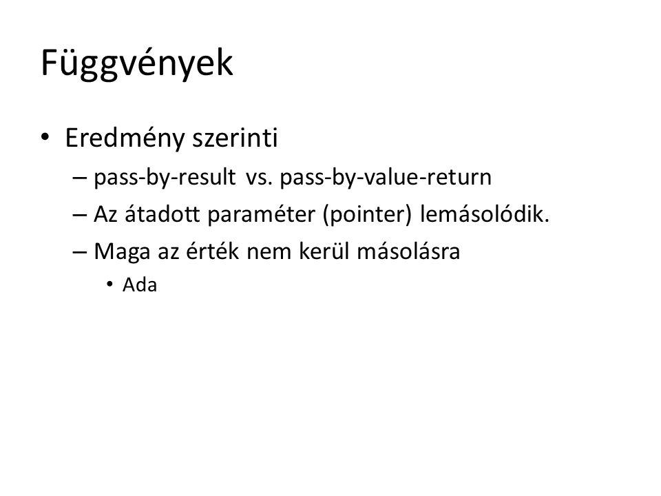 Függvények Eredmény szerinti – pass-by-result vs. pass-by-value-return – Az átadott paraméter (pointer) lemásolódik. – Maga az érték nem kerül másolás
