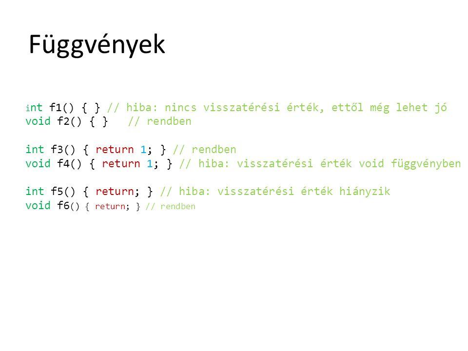 Függvények i nt f1() { } // hiba: nincs visszatérési érték, ettől még lehet jó void f2() { } // rendben int f3() { return 1; } // rendben void f4() {