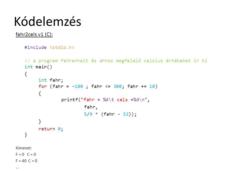 Kódelemzés fahr2cels v1 (C): #include // a program fahrenheit és ahhoz megfelelő celsius értékeket ír ki int main() { int fahr; for (fahr = -100 ; fah