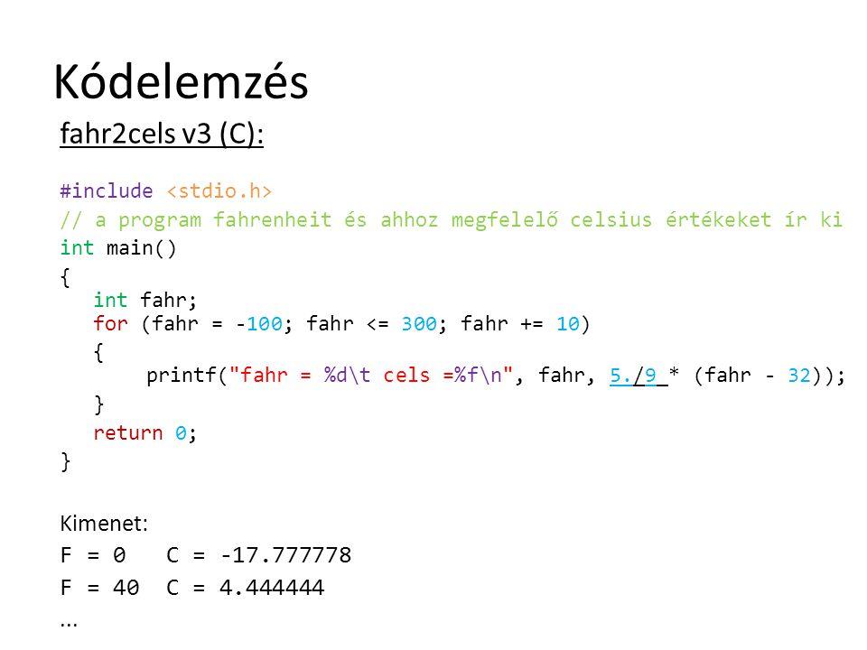 Kódelemzés fahr2cels v3 (C): #include // a program fahrenheit és ahhoz megfelelő celsius értékeket ír ki int main() { int fahr; for (fahr = -100; fahr
