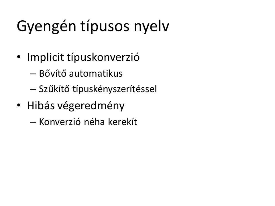 Gyengén típusos nyelv (C++) void weakTyping ( void ) { int alpha = 1 ; int beta = 10 ; float result; result = alpha / beta; // 0 }