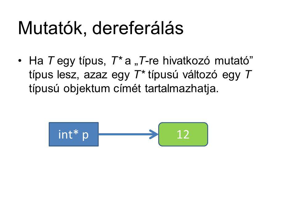 """Mutatók, dereferálás Ha T egy típus, T* a """"T-re hivatkozó mutató"""" típus lesz, azaz egy T* típusú változó egy T típusú objektum címét tartalmazhatja. i"""
