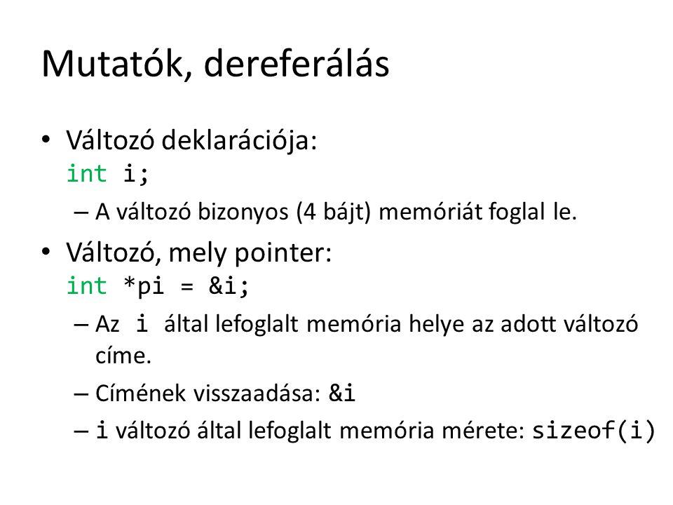 Mutatók, dereferálás Változó deklarációja: int i; – A változó bizonyos (4 bájt) memóriát foglal le. Változó, mely pointer: int *pi = &i; – Az i által