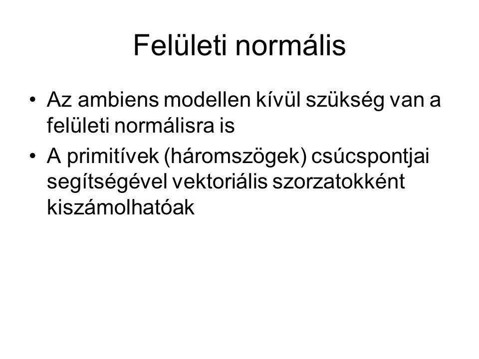 Felületi normális Az ambiens modellen kívül szükség van a felületi normálisra is A primitívek (háromszögek) csúcspontjai segítségével vektoriális szorzatokként kiszámolhatóak
