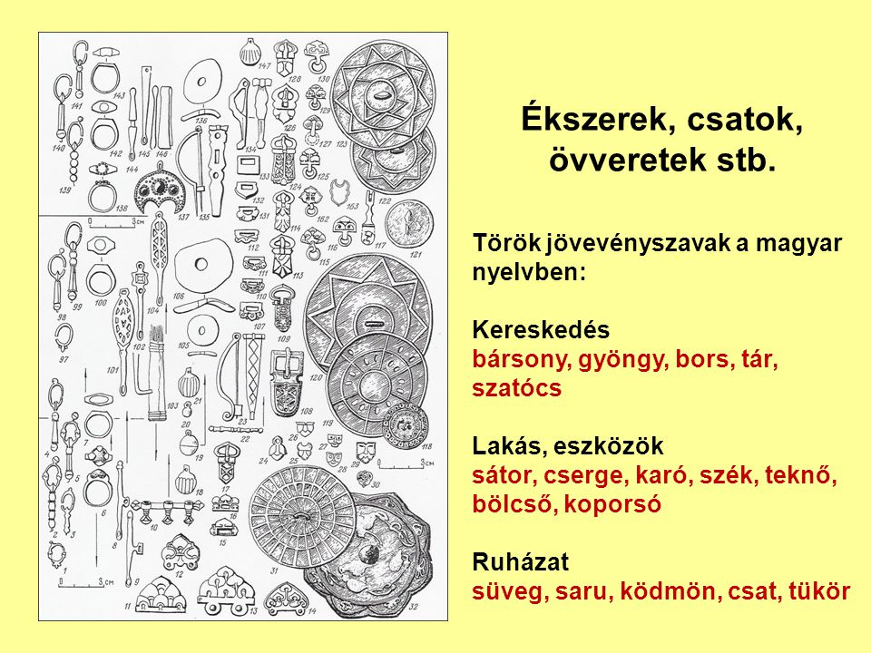 Ékszerek, csatok, övveretek stb. Török jövevényszavak a magyar nyelvben: Kereskedés bársony, gyöngy, bors, tár, szatócs Lakás, eszközök sátor, cserge,