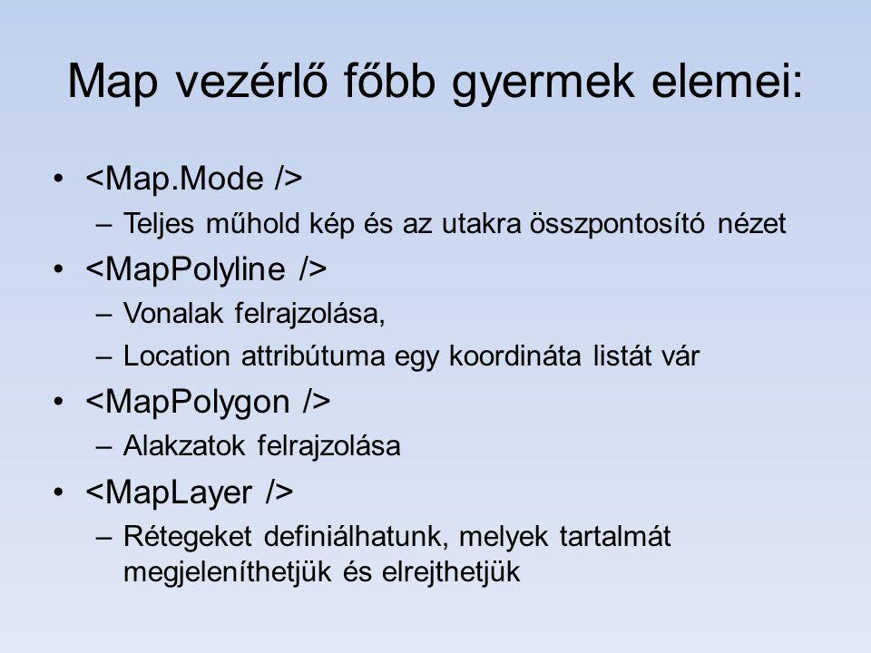 Map vezérlő főbb gyermek elemei: –Teljes műhold kép és az utakra összpontosító nézet –Vonalak felrajzolása, –Location attribútuma egy koordináta listát vár –Alakzatok felrajzolása –Rétegeket definiálhatunk, melyek tartalmát megjeleníthetjük és elrejthetjük