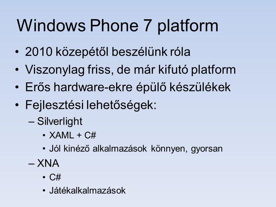 Windows Vista SP2 vagy Windows 7 Visual Studio 2010 + SP1 Windows Phone SDK 7.1 –Windows Phone 7 készülékre nincs szükség, az SDK tartalmaz egy emulátort Ingyen letölthető: http://create.msdn.comhttp://create.msdn.com További információ: http://wp7.devportal.huhttp://wp7.devportal.hu Oktató anyagok: http://devportal.hu/tvhttp://devportal.hu/tv Mi kell a fejelsztéshez?