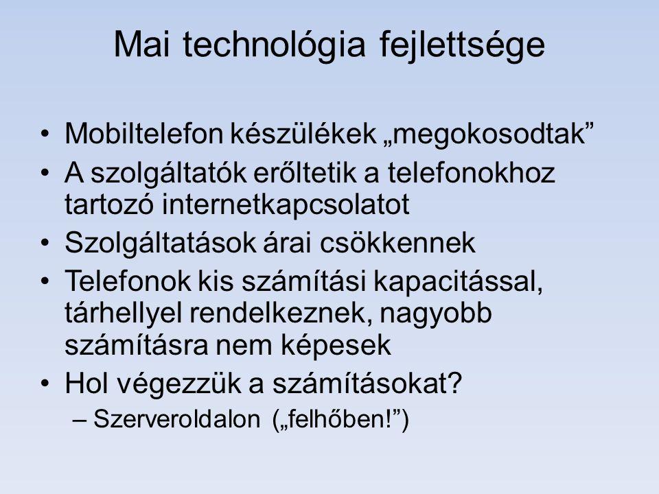 """Bevezető Megjelentek a vékonykliens alkalmazások: –Egy okos telefon """"buta internet kapcsolat nélkül."""