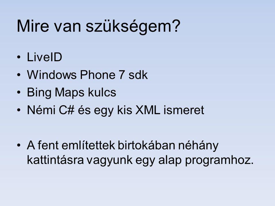 Mire van szükségem? LiveID Windows Phone 7 sdk Bing Maps kulcs Némi C# és egy kis XML ismeret A fent említettek birtokában néhány kattintásra vagyunk