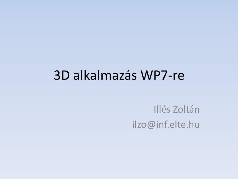 3D alkalmazás WP7-re Illés Zoltán ilzo@inf.elte.hu