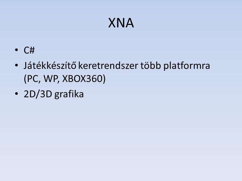 XNA C# Játékkészítő keretrendszer több platformra (PC, WP, XBOX360) 2D/3D grafika